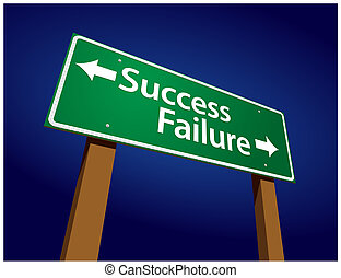 succes, illustratie, meldingsbord, mislukking, groene, straat