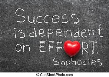 succes, is, afhankelijk