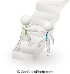 succes, mensen, beklimming, logo, trap, 3d