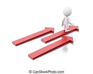 succes, mensen, concept., bewindvoering, arrows., witte , 3d