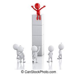 succes, mensen, concept., bewindvoering, man., wit rood, 3d