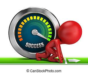 succes, mensen, -, kleine, voorwaarts, 3d