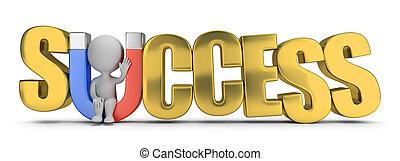 succes, mensen, -, magneet, kleine, 3d
