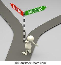 succes, mensen, meldingsbord, mislukking, straat, 3d