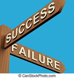 succes, of, mislukking, richtingen, op, een, wegwijzer