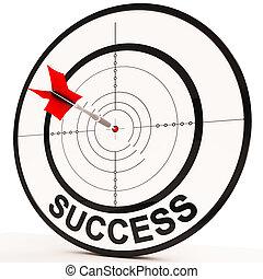 succes, optredens, prestatie, besluit, en, innemend