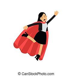 succes, plat, vrouw zaak, kantoor, classieke, concept., vliegen, karakter, jonge, illustratie, op, vrolijk, suit., bewindvoering, vector, vrouwlijk, kaap, superhero., rood