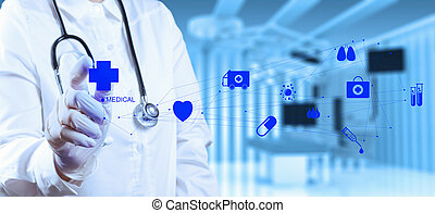 succes, smart, medische arts, werkende , met, operatiekamer