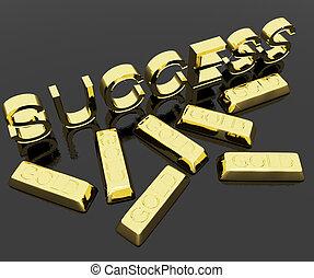 succes, tekst, en, goud verspert, als, symbool, van,...