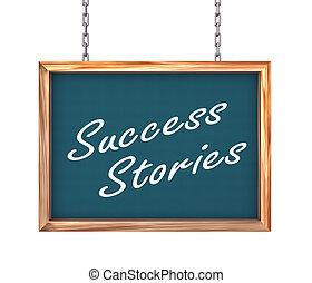 succes, -, verhalen, hangend, spandoek, 3d