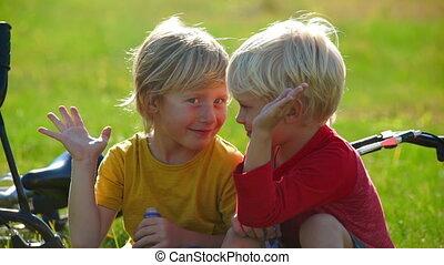 succes, vertragen, vriendschap, concept., weinig; niet zo(...