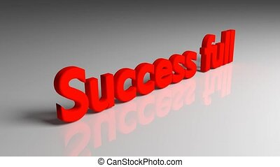 succes, volle, tekst, animatie, verschijnen, op, een, grijze , achtergrond, 3d, vertolking