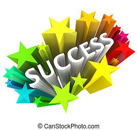 succes, -, woord, omringde, door, kleurrijke, sterretjes