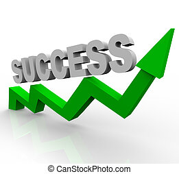 succes, woord, op, groene, groei, richtingwijzer