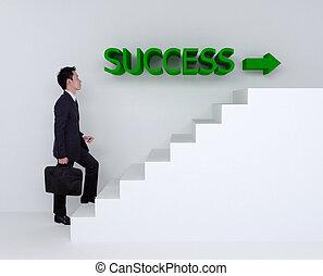 succes, zakelijk, op, het schrijden, trap, man