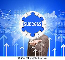 succes, zakelijk, raadsel, etiket, bol, houden, man