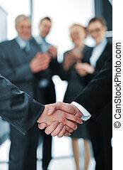 succesful, aperto mão, aplauding, pessoas negócio