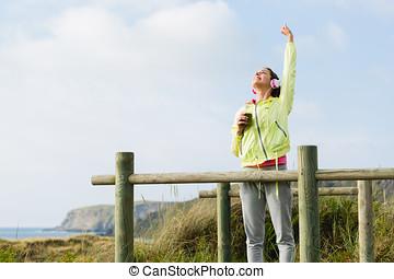 succesful, fitness, en, sportende, levensstijl