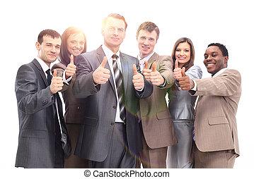 succesrige, hold, oppe, firma, tommelfingre