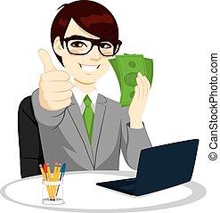 succesrige, penge, forretningsmand