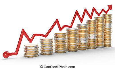 success:, κόκκινο , γραφική παράσταση , πάνω , κέρματα