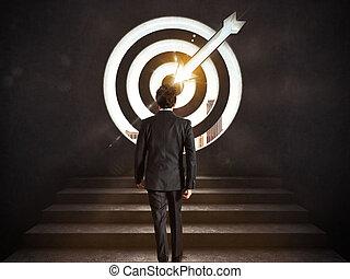 success., ゴール, の上, レンダリング, target.., ビジネスマン, 上昇, 着きなさい, 階段, 3d