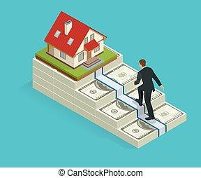 success., ビジネス, 上昇, concept., house., 成功, 貨幣である, goal., 上昇, 人, 階段, ゴール