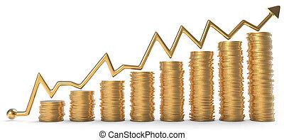 success:, 在上方, 硬幣, 圖表, 黃金