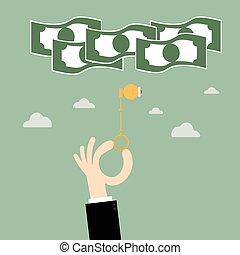 success., 錠を開けること, キー, ビジネス, お金。, 考え, キー, 電球, illustration., 概念