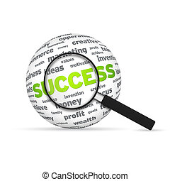 Success 3d Word Sphere with magnifying glass on white background.