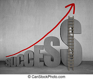"""""""SUCCESS"""" 3D word with growing red arrow on concrete wall"""