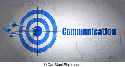 Success advertising concept: arrows hitting the center of target, Blue Communication on wall background, 3d render