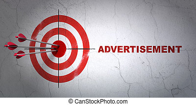 Success advertising concept: arrows hitting the center of target, Red Advertisement on wall background, 3d render
