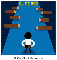 Success and business man. This theme template is showing the concept of obstacles faced to succeed