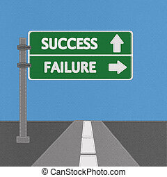 Success and failure highway sign concept with stitch style on fabric background