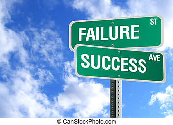 Success And Failure Sign With Clouds