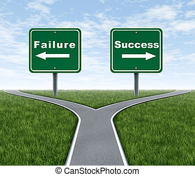 Success and failure symbol represented by a forked road with a road sign representing Failing and another successfulness with arrows for turning in the direction that is chosen after facing the difficult dilemma.