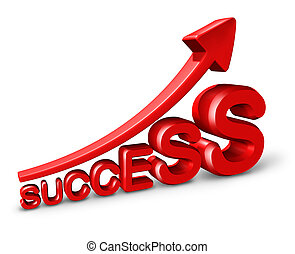 Success growth and marketing as a symbol of wealth and making money and financial profits with a red arrow and three dimensional text on a white background.