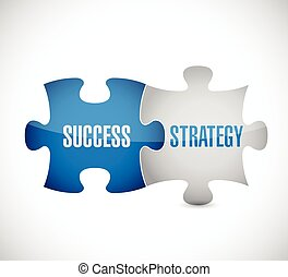 success and strategy puzzle pieces illustration