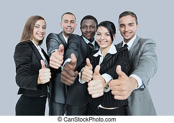 Success and winning concept - happy business team showing thumbs