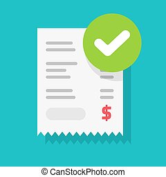 Success approved payment check mark notification on paper receipt bill invoice vector flat cartoon icon, valid verified notice checkmark on successful paid online, completed money transfer, purchase