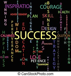An illustration of the word success as background.
