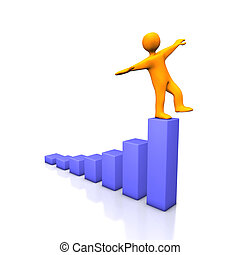 Success Balance - 3d illustration looks humanoid person on...