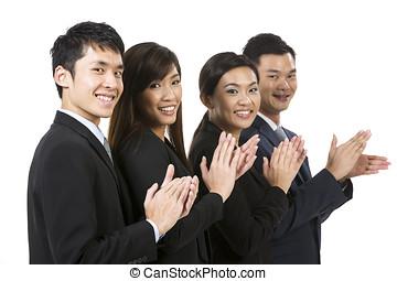 success., business, célébrer, asiatique, équipe, heureux
