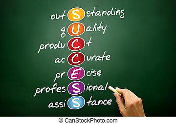 SUCCESS, business concept acronym on blackboard