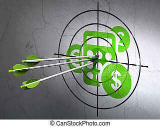 Success business concept: arrows hitting the center of Green Calculator target on wall background, 3d render