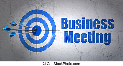 Success business concept: arrows hitting the center of target, Blue Business Meeting on wall background, 3d render