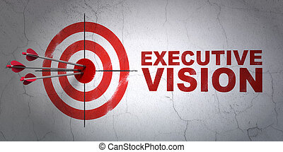 Success business concept: arrows hitting the center of target, Red Executive Vision on wall background, 3d render