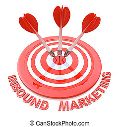 Success business concept: arrows hitting the center of target, Red Inbound Marketing, 3d render