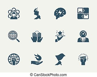Success, business, development related vector icon set